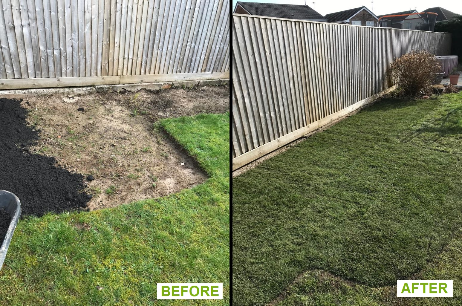 Turf over flower bed - before and after