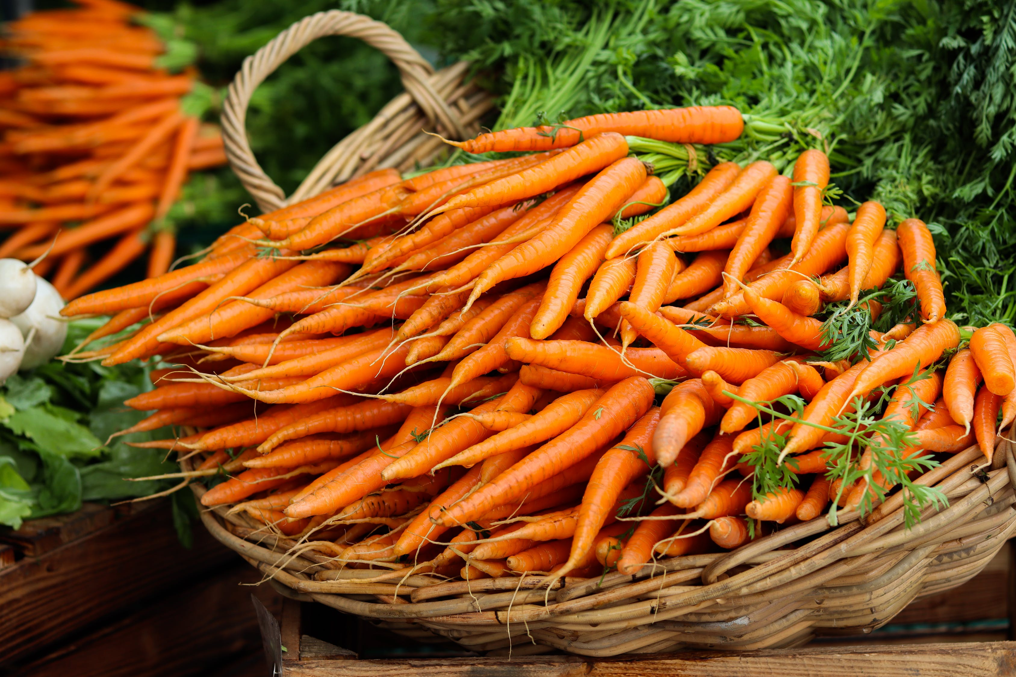 Carrots in a wicker basket